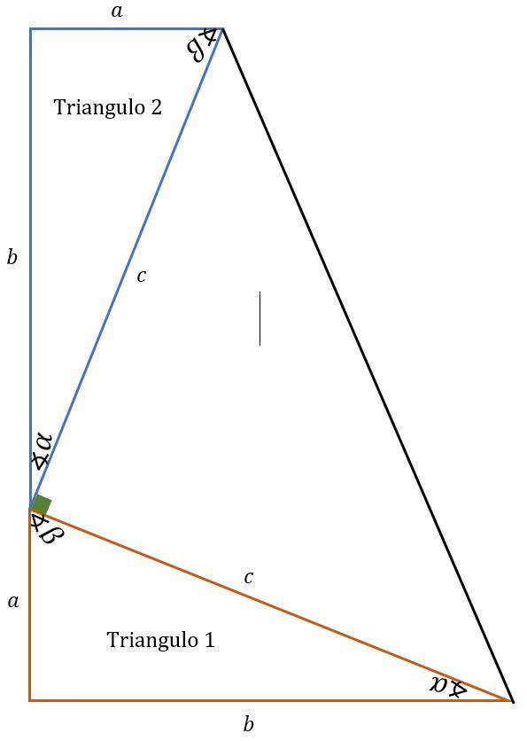 Trapecio rectángulo para demostrar el teorema de pitagoras