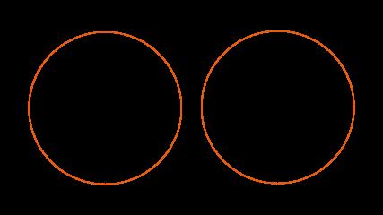 Diagramas de Venn de la interseccion de los conjuntos disjuntos A y B, donde la interseccion es en consecuencia el conjunto vacio